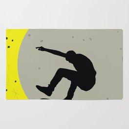 Skateboard Kick Flip OnThe Moon Silhouet Skateboarder Rug