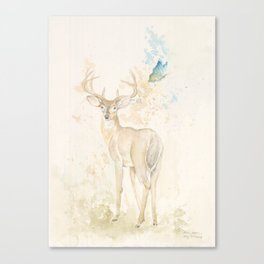 Deer and butterfly Canvas Print