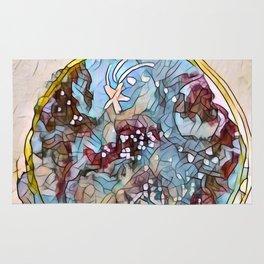 Star Galaxy Teal Purple Brown Mandala watercolor by CheyAnne Sexton Rug