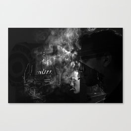 Smokers and train Canvas Print