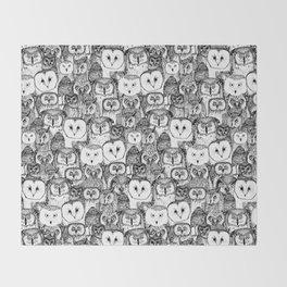 just owls black white Throw Blanket