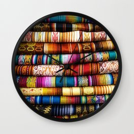 Colorful Fabric in Ecuador Wall Clock