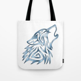 Tribal Wolf Howl Brushed Steel Tote Bag