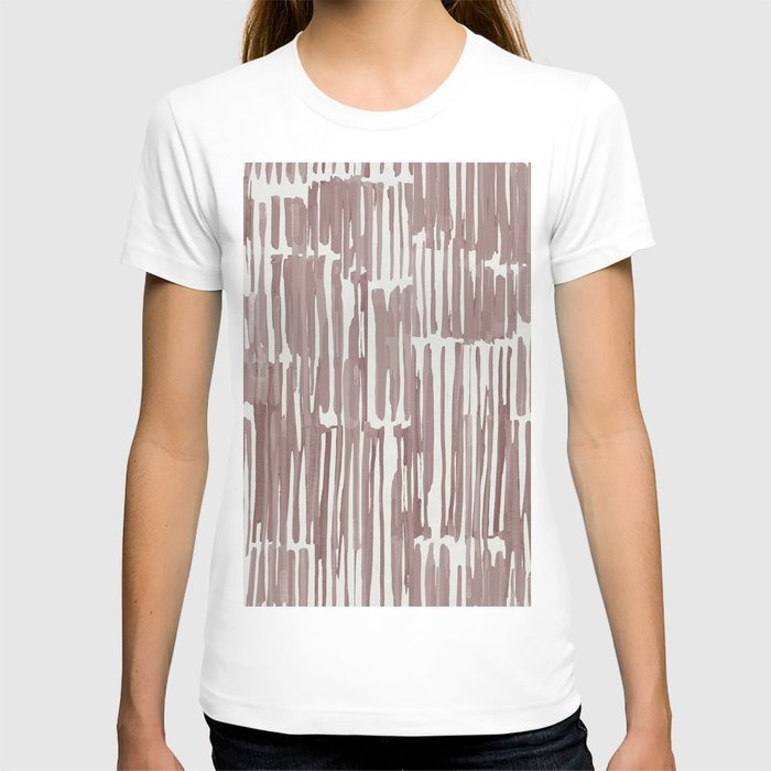 Simply Bamboo Brushstroke Red Earth on Lunar Gray T-shirt