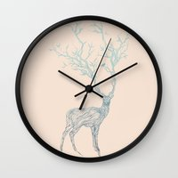 black Wall Clocks featuring Blue Deer by Huebucket