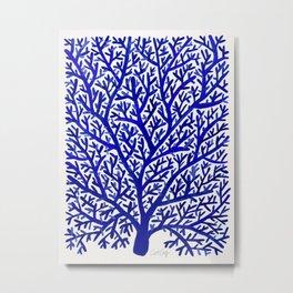 Fan Coral – Navy Metal Print