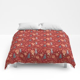 IT'S A CATS' WORLD! Burgundy Red Palette Comforters