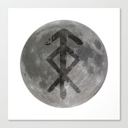 Viking bind rune 'Protection' on moon. Canvas Print