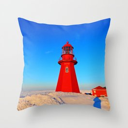 Lighthouse  and Frozen Sea Throw Pillow