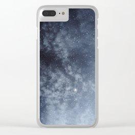 Blue veiled moon Clear iPhone Case