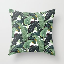 banana leaf pattern Throw Pillow