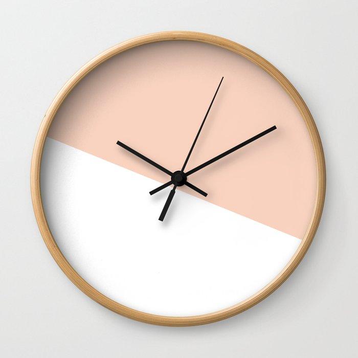 Geometric Blush Pink + White Wall Clock