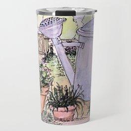Garden Tools Watercolor Illustration Watercolor Travel Mug