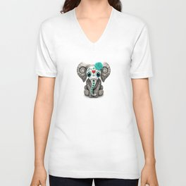 Teal Blue Day of the Dead Sugar Skull Baby Elephant Unisex V-Neck