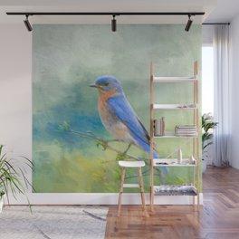 Bluebird In The Garden Wall Mural