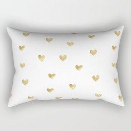 Gold Heart Rectangular Pillow