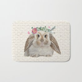 Floral Crown Bunny on Burlap Bath Mat