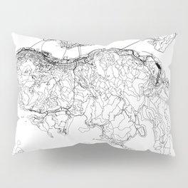 Hong Kong White Map Pillow Sham