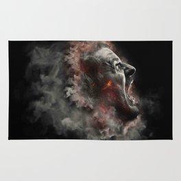 Burning face of man art Rug