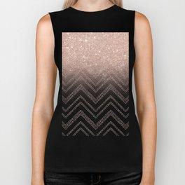 Modern faux rose gold glitter ombre modern chevron stitches pattern Biker Tank