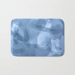 Ink Blue Watercolor Abstract Painting Bath Mat