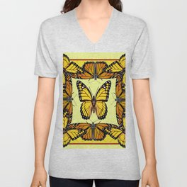 YELLOW & ORANGE MONARCH BUTTERFLIES PATTERNED ART Unisex V-Neck