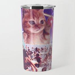 cat invader from space galaxy marsians attacking beach Travel Mug
