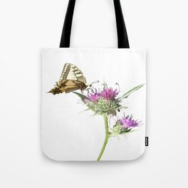 Scarce Swallowtail Butterfly Resting On Thistle Flower Tote Bag