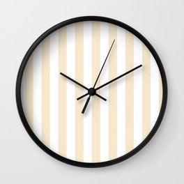 Narrow Vertical Stripes - White and Champagne Orange Wall Clock