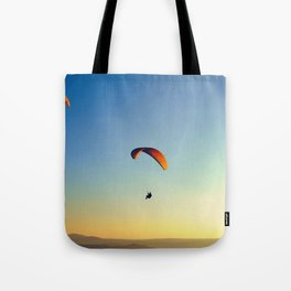 two paragliders in the sky Tote Bag