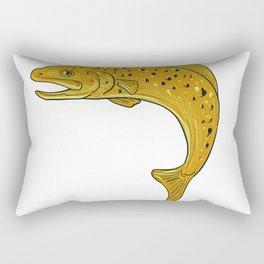 Brown Trout Jumping Drawing Rectangular Pillow