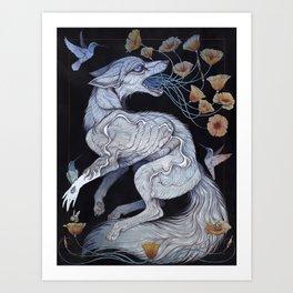 Fox & Poppies Art Print