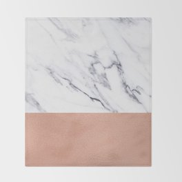 Marble Rose Gold Luxury iPhone Case and Throw Pillow Design Throw Blanket