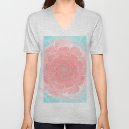 Romantic aqua and pink flower, digital abstracts Unisex V-Neck