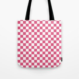 Small Checkered - White and Dark Pink Tote Bag