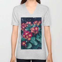 Pretty Little Red & Yellow Flowers Unisex V-Neck
