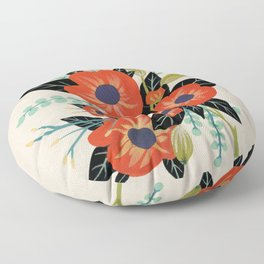 Red Poppies - Ivory Floor Pillow