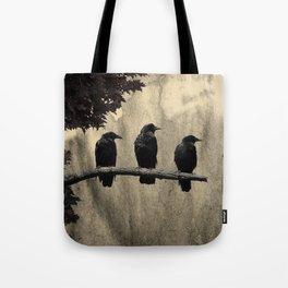 Three Like Minded Crows Tote Bag