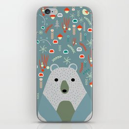 Winter pattern with baby bear iPhone Skin