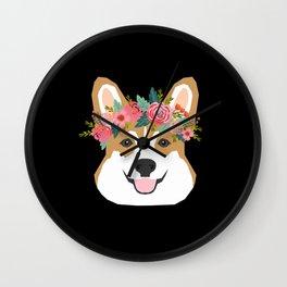 Corgi head floral crown dog breed gifts for welsh corgis Wall Clock