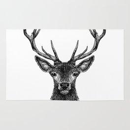 Deer Head Drawing Black Rug