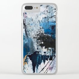Breathe: colorful abstract in black, blue, purple, gold and white Clear iPhone Case