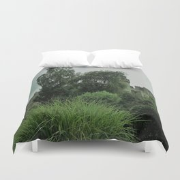 Warwick Castle Bathed in Green Light Duvet Cover