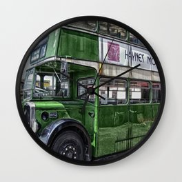 Green Bus Wall Clock