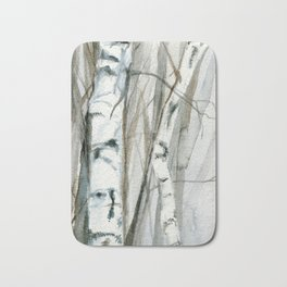 Winter Birch Trees Woodland Watercolor Original Art Print Bath Mat