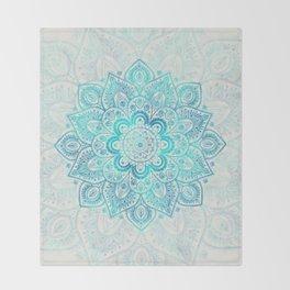 Turquoise Lace Mandala Throw Blanket