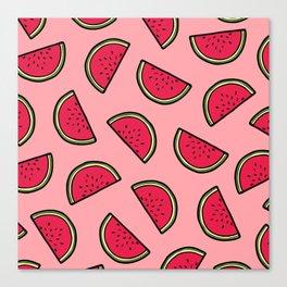 Watermelon Pattern in Pink Canvas Print