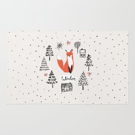 Cute red fox in the fir trees with snow. Rug