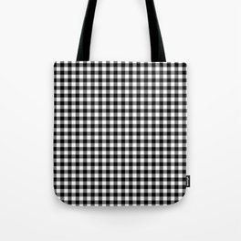 Gingham Black and White Pattern Tote Bag