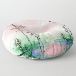 Pink and Green Watercolor Landscape Floor Pillow